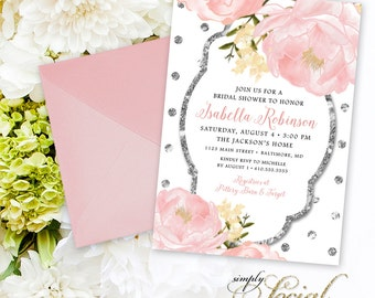 Peony Bridal Shower Invitation - Peony Flowers Blush Pink and Silver Glitter Polka Dots Custom Personalized PRINTABLE