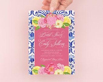 Lemon and Blue Tile Bridal Shower Invitation - Portuguese Blue Tile Invite - Italian Bridal Shower - Lemon Theme Party - Lemon Birthday