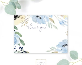 INSTANT DOWNLOAD Boho Blue Floral Baby Shower Thank You Note - Garden Shower - Dusty Blue Printable Thank You Note