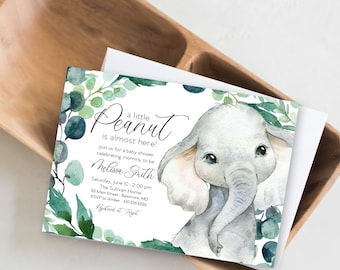 Gender Netural Jungle Elephant Baby Shower Invitation - Greenery Watercolor Elephant - Little Peanut is Almost Here - Sweet Little Peanut