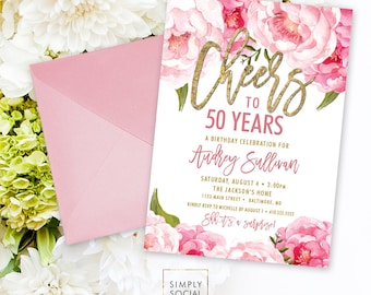 Cheers to Fifty Years Birthday Party Invitation