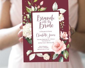Burgundy Brunch with the Bride - Pink Floral Bridal Shower Invitation