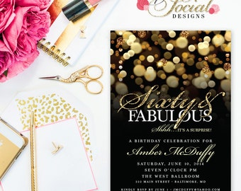Surprise 60th Birthday Party Invitation with Gold Glitter Bokeh Gold and Black Invite Sixty and Fabulous Gold Glitter Invite PRINTABLE