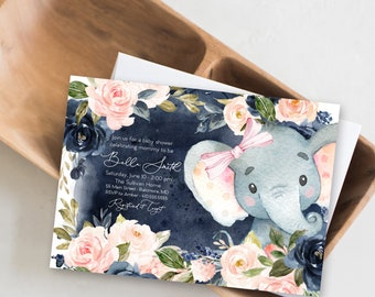 Blush and Navy Floral Elephant Baby Shower Invitation - It's a Girl Watercolor Elephant - Little Peanut is Almost Here - Sweet Little Peanut