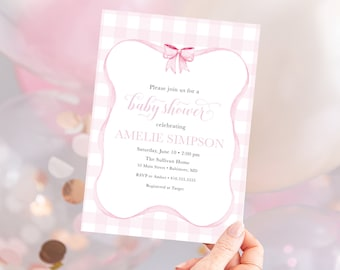 Preppy Pink Gingham Bow Baby Shower Invitation
