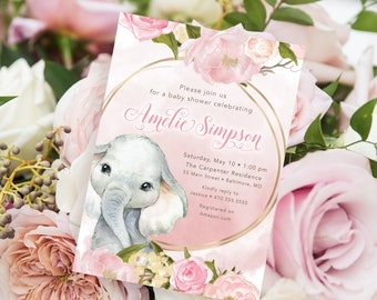 Blush Pink Floral Elephant Baby Shower Invitation - It's a Girl - Little Peanut is Almost Here