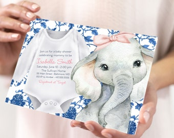 Blue Chinoiserie Elephant Baby Shower Invitation - It's a Girl - Little Peanut - Baby Girl