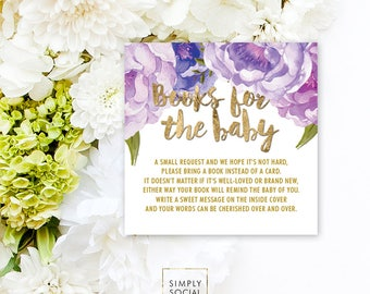 INSTANT DOWNLOAD Purple Floral Baby Shower Bring a Book Instead of a Card insert Faux Gold Foil Boho Peony Ranunculus Watercolor PRINTABLE