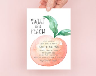 Sweet as a Peach Baby Shower Invitation