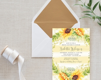 Sunflower Bridal Shower Invitation - Watercolor Stripes and Sunflowers Bridal Shower Invitation Printable