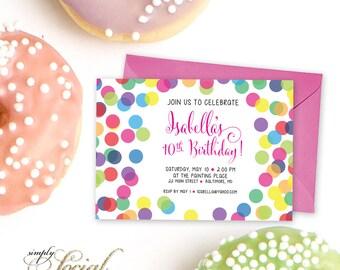 Rainbow Confetti Birthday Party Invitation Printable Tween Party Invite Girl Birthday Party Modern Calligraphy Colorful