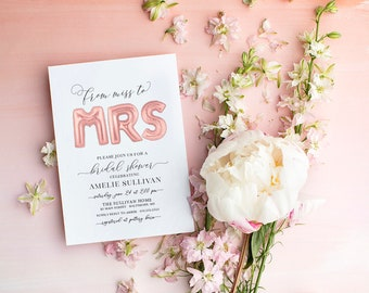 Rose Gold Ballon Bridal Shower Invitation - Miss to Mrs