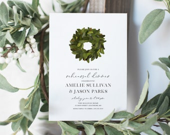 Magnolia Leaves Wreath Rehearsal Dinner Invitation