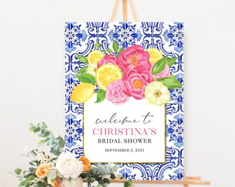 Tuscan Lemon and Fuschia Floral Bridal Shower Welcome Sign
