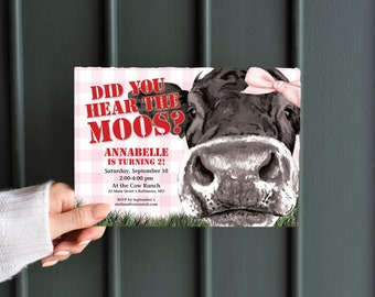 Cow and Pink Gingham Birthday Party Invitation - Did you hear the moos