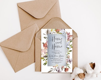 Blue Floral Housewarming Party Invitation