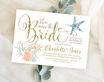 Under the Sea Coral Starfish Printable Bridal Shower Invitation Nautical Here Comes the Bride