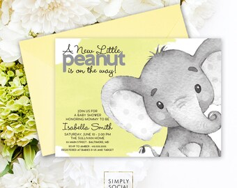 Yellow Elephant Baby Shower Invitation - Gender Neutral
