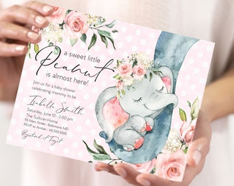 Pink Floral Elephant Baby Shower Invitation - It's a Girl Watercolor Elephant - Little Peanut is Almost Here - Sweet Little Peanut