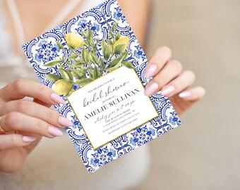 Tuscan Lemon Bridal Shower Invitation - Portuguese Blue Tile and Lemon Bridal Shower Invitation