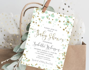 Confetti Baby Shower Invite - Calligraphy Mint and Gold Glitter Gender Neutral Baby Shower Invitation Printable Invite Baby Sprinkle