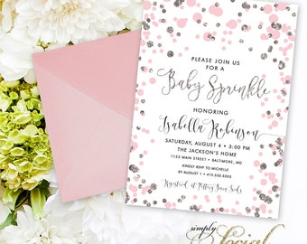 Pink Confetti Baby Shower Sprinkle Invitation