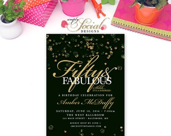 The Jewel Collection Glitter Glam Emerald Confetti Surprise 60th 50th 40th 30th Birthday Invitation Fifty and Fabulous PRINTABLE green