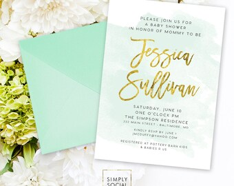 Gender Neutral Baby Shower Invitation - Mint Baby Shower Faux Gold Foil Boho Watercolor Shower Invite Modern Calligraphy Printable Invite