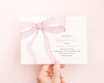 Preppy Pink Bow Baby Shower Invitation
