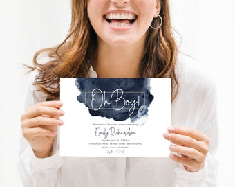 Oh Boy Navy and Gold Baby Shower Invitation