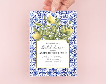 Tuscan Lemon Bridal Shower Invitation - Portuguese Blue Tile and Lemon Bridal Shower Invitation