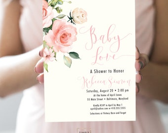 Pink Floral BABY Shower Invitation - Blush Pink Flowers - Baby Shower - Peony Roses Greenery Invitation Watercolor BABY LOVE Printable