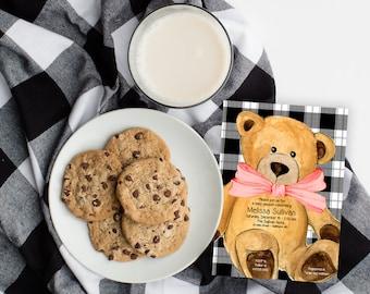 Black and White Buffalo Check Teddy Bear Baby Shower Invitation - Christmas Baby Shower - Holiday Bear Baby Shower