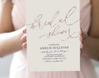 Faux Rose Gold Foil Bridal Shower Invitation