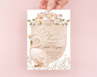 Swan Baby Shower Invitation - It's a Girl