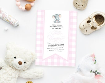 Pink Gingham Elephant Baby Shower Invitation - It's a Girl