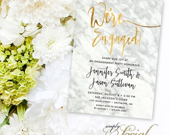 Calligraphy Engagement Party Invitation - Carrara Marble Faux Gold Foil Classy Black and White Calligraphy We're Engaged Printable