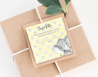 INSTANT DOWNLOAD Yellow Elephant Baby Shower Diaper Raffle Insert Yellow Boho Watercolor Gender Neutral PRINTABLE