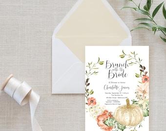 Brunch with the Bride - Floral Pumpkin Bridal Shower Invitation