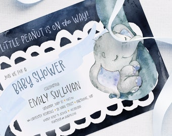 Blue Elephant Baby Shower Invitation - A Little Peanut is on the Way