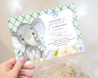 Blue Floral Elephant Baby Shower Invitation - Little Peanut is Almost Here - Sweet Little Peanut