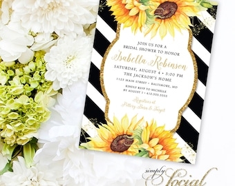 Sunflower Bridal Shower Invitation - Glitter Glam Sparkling Watercolor Sunflowers and Black Stripes Bridal Shower Invitation Printable