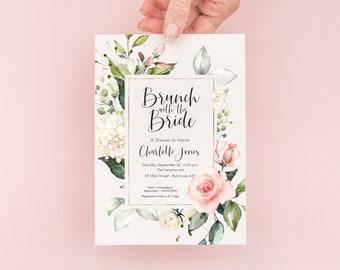 Brunch with the Bride - Pink Floral Bridal Shower Invitation - Lunch with the Bride - Bridal Luncheon Invite - Bridal Brunch Invite