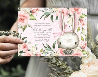 Pink Bunny Floral Baby Shower Invitation - It's a Girl Watercolor Rabbit - Bunny Rabbit - Bunny Baby Shower