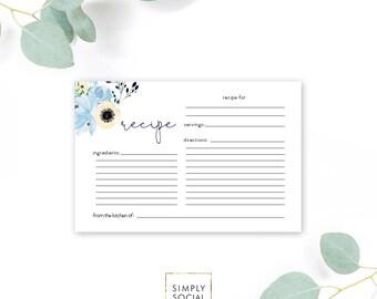 INSTANT DOWNLOAD Boho Blue Floral Recipe Card - Bridal Shower - Garden Shower - Dusty Blue Printable Recipe Card Bring a Recipe