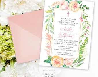Floral Holy Communion Invitation - Blush Pink Personalized Custom Peony Flowers Pink Gold Baptism Printable Party Invite