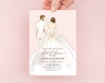 Brunette Bride in a Dress Couples Bridal Shower Invitation