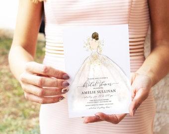 Brunette Bride in a Dress Bridal Shower Invitation