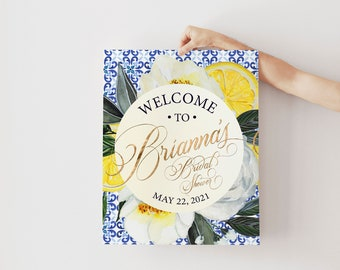 Blue and White Tile, Tuscan Lemon, Bridal Shower Welcome Sign