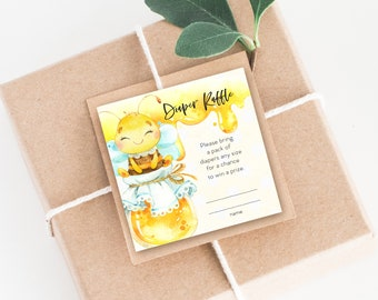 INSTANT DOWNLOAD Honey Bee Baby Shower Diaper Raffle insert - Gender Neutral Baby Shower